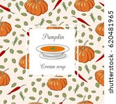 pumpkin cream soup set.... | Shutterstock .eps vector #620481965