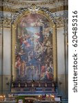Small photo of ROME, ITALY - SEPTEMBER 04: Martyrdoms of the Apostles Philip and James the Less by Domenico Maria Muratori, altarpiece in church dei Santi XII Apostoli in Rome, Italy on September 04, 2016.