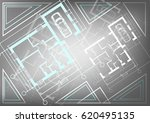 architectural house plan on a... | Shutterstock .eps vector #620495135
