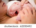 newborn baby girl right after... | Shutterstock . vector #62050492