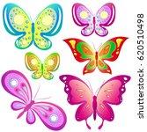 beautiful color butterflies set ... | Shutterstock .eps vector #620510498