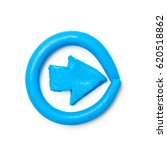 plasticine blue arrow. modeling ...