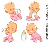 set with cute little baby with... | Shutterstock .eps vector #620520476