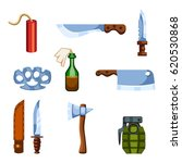 set of cartoon survival game... | Shutterstock .eps vector #620530868