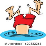 cartoon man who took a bad dive ... | Shutterstock .eps vector #620532266