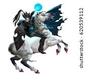 dark elf with armor riding... | Shutterstock .eps vector #620539112