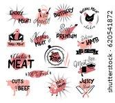 butchery hand drawn logo set.... | Shutterstock .eps vector #620541872