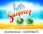 hello summer vector poster with ... | Shutterstock .eps vector #620558672