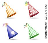 party hat set isolated on a... | Shutterstock .eps vector #620571422