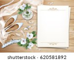wedding floral top view... | Shutterstock .eps vector #620581892