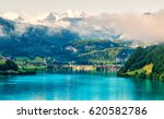 amazing view of the lungerersee ... | Shutterstock . vector #620582786