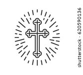 christian crucifix linear icon. ... | Shutterstock .eps vector #620590136