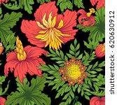 vintage flowers seamless... | Shutterstock .eps vector #620630912