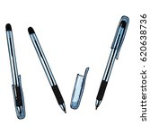 vector cartoon set of pens.... | Shutterstock .eps vector #620638736
