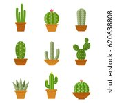 Cactus Icons In A Flat Style O...