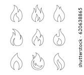 fire outline icons on white...   Shutterstock .eps vector #620638865