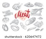 hand drawn food collection with ... | Shutterstock .eps vector #620647472