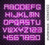 glowing purple neon alphabet... | Shutterstock .eps vector #620665322
