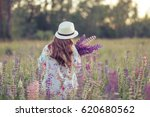 girl in light dress and hat on... | Shutterstock . vector #620680562