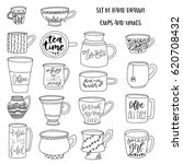 set of hand drawn doodle cups.... | Shutterstock .eps vector #620708432