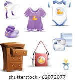 Variety of baby clothing items including baby bonnet, outfit, ones-ie, booties, diaper bag, diapers and dress