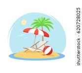 tropical island with palm tree... | Shutterstock .eps vector #620728025
