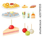 various meat canape snacks... | Shutterstock .eps vector #620759555