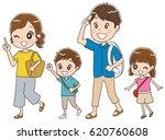 family traveling in summer  | Shutterstock .eps vector #620760608