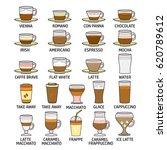 set of cute various beverage... | Shutterstock .eps vector #620789612