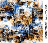 watercolor  gouache  ink. city... | Shutterstock . vector #620799455