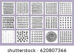 set of hand drawn textures made ... | Shutterstock .eps vector #620807366