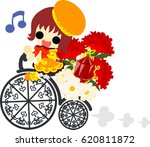 a cute girl and a bicycle of... | Shutterstock .eps vector #620811872