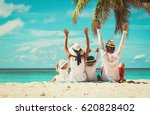 happy family with two kids... | Shutterstock . vector #620828402
