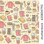 pattern with coffee and sweater | Shutterstock . vector #620834792