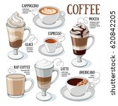 different types of coffee.... | Shutterstock .eps vector #620842205
