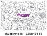 hand drawn chemistry doodle set ... | Shutterstock .eps vector #620849558