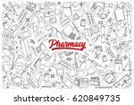 hand drawn pharmacy doodle set... | Shutterstock .eps vector #620849735