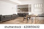 minimalist kitchen and living... | Shutterstock . vector #620850632