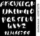hand drawn dry brush font.... | Shutterstock .eps vector #620871278