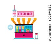 fresh organic juice shop street ...   Shutterstock .eps vector #620894882