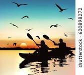 silhouette of girls kayaking ... | Shutterstock .eps vector #620898272