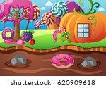 fantasy candy land for kids | Shutterstock .eps vector #620909618