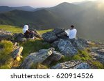 islamic people praying on the... | Shutterstock . vector #620914526