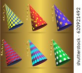 party hat set isolated .... | Shutterstock .eps vector #620921492