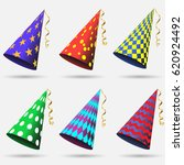 party hat set isolated on a... | Shutterstock .eps vector #620924492