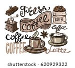 hand drawn doodle coffee... | Shutterstock .eps vector #620929322