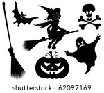 halloween silhouettes. witch ... | Shutterstock .eps vector #62097169