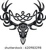 celtic deer skull  | Shutterstock .eps vector #620983298