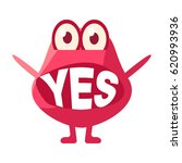 pink blob saying yes  cute... | Shutterstock .eps vector #620993936
