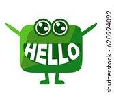 green blob saying hello  cute... | Shutterstock .eps vector #620994092